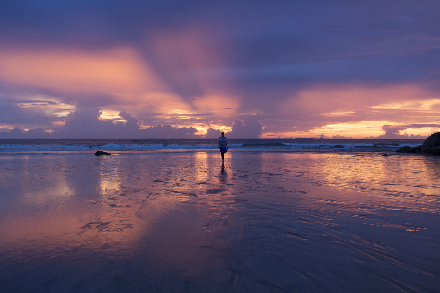 Image of me walking towards the sea during sunset at Ngwe Saung beach.